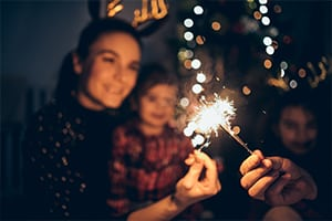 Mother and daughter on new years